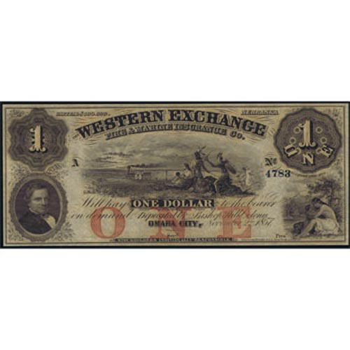 Nebraska. Omaha City 1$ 1857. Western Exchange Bank. SC.