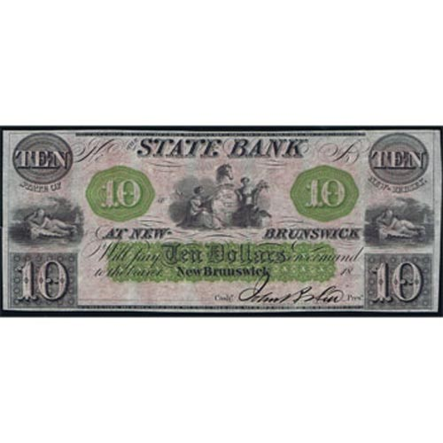 New Jersey. New Brunswick 10$ 18xx. Bank at New-Brunswick. SC.