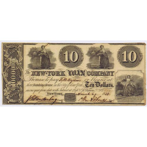 New York 10$ 1838. The New York Loan Company. SC.