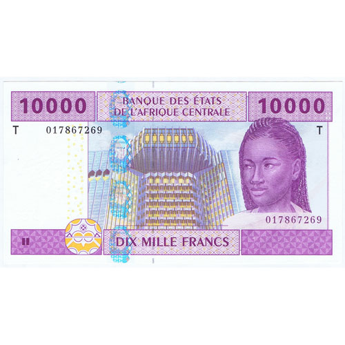 Africa Central 10000 Dix Mille Francs 2002. Sin Circular.