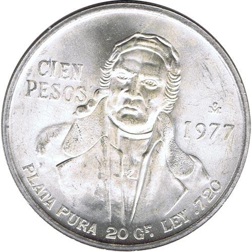 99ab1ce5830d Moneda de plata 100 pesos Mexico 1977. Sin Circular.