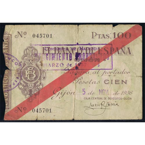 (1936/11/05) Spain Bank. Gijon. 100 Pesetas. MBC