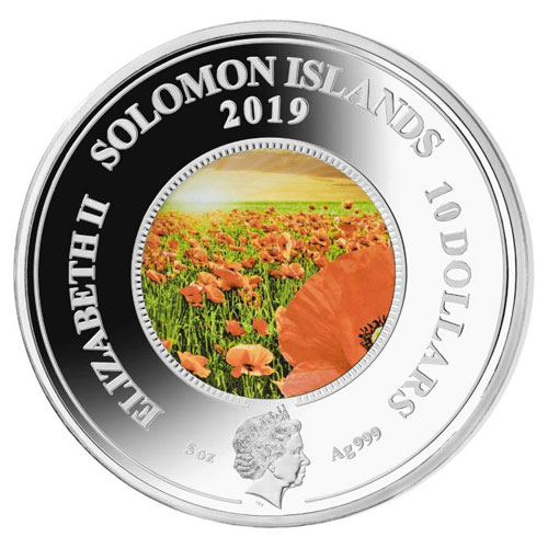 Moneda 5 onzas de plata 10$ Solomon Remember Them Amapola.