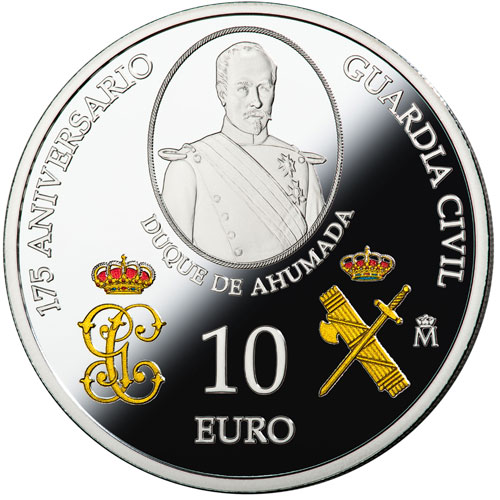 Moneda 2019 175 Aniversario Guardia Civil. 10 euros. Plata