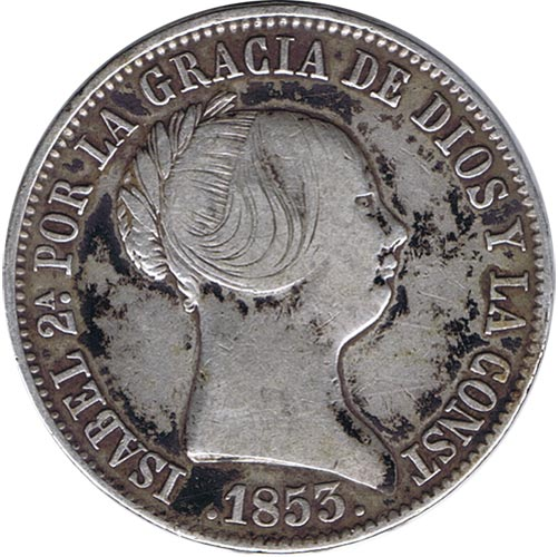 10 reales 1853. Isabel II. Madrid