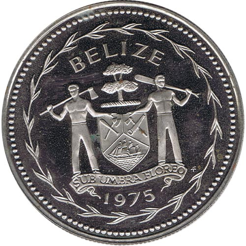 Moneda de plata 1 Dollar Belize 1975. Papagayos