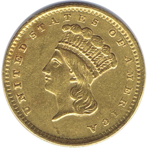 Moneda de oro 1 dolar Estados Unidos 1856 Princesa India