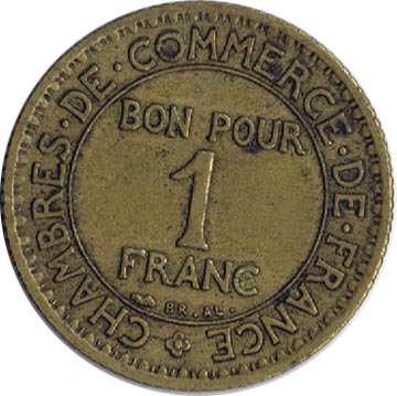 Francia 1 franco 1922 chambres de commerce de france for Chambre de commerce franco turque