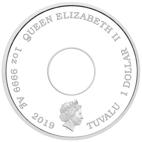 Moneda onza de plata 1$ Tuvalu Donut Simpson 2019. Proof.