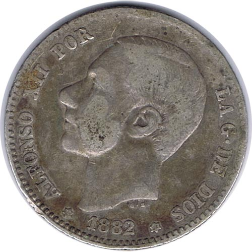 1 Peseta (1882)(*18-82) Madrid MS M