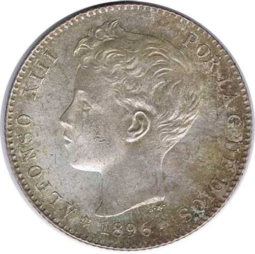 1 Peseta (1896)(*18-96) Madrid PG V - EBC. Brillo original