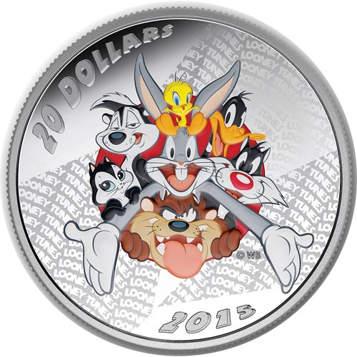 Moneda de plata coloreada 20$ Canada Looney Tunes 2015