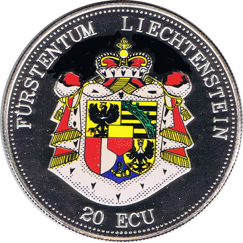 Moneda de plata 20 Ecu Liechtenstein Escudo color. Piedfort.