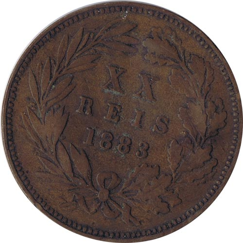 Portugal 20 Reis 1883 Luis I. Bronce.