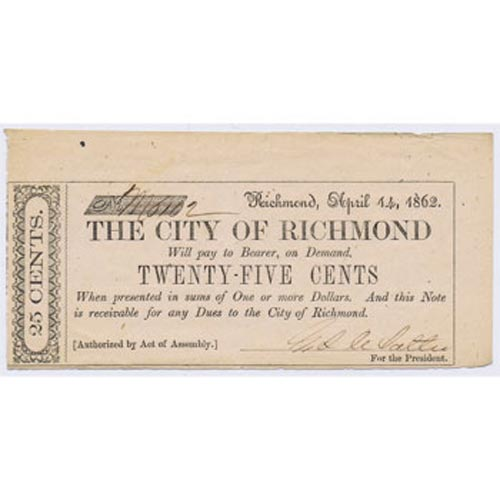 Richmond 25 cents. 1862. SC.