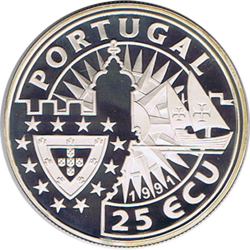 Moneda de plata 25 Ecu Portugal 1991. Barco Proof.