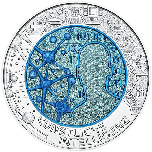 moneda Austria 25 Euros 2019 Inteligencia Artificial. Niobio.