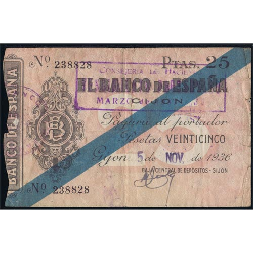 (1936/11/05) Spain Bank. Gijon. 25 Pesetas. MBC