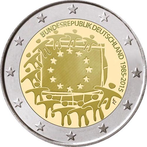 moneda alemania 2 euros 2015 30 a os bandera de europa 5. Black Bedroom Furniture Sets. Home Design Ideas