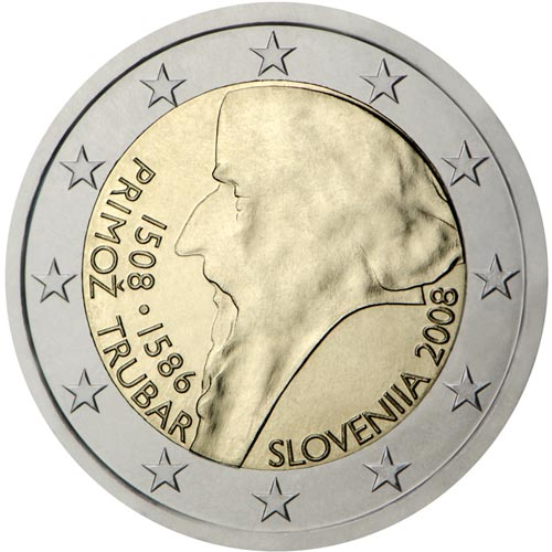 moneda conmemorativa 2 euros Eslovenia 2008. Proof.