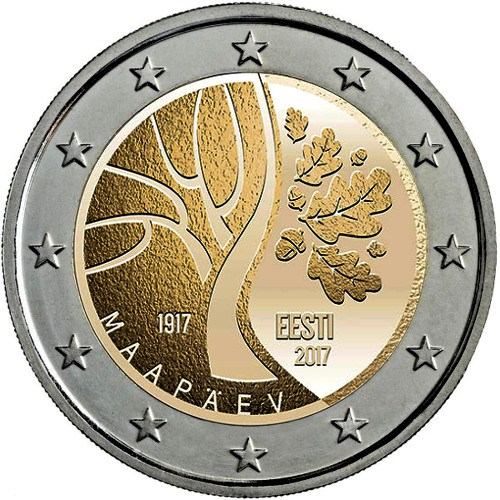 moneda conmemorativa 2 euros Estonia 2017 Independecia.