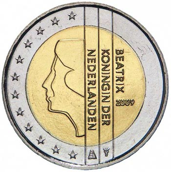 monedas euro serie Holanda 2009 (2 euros) Proof.