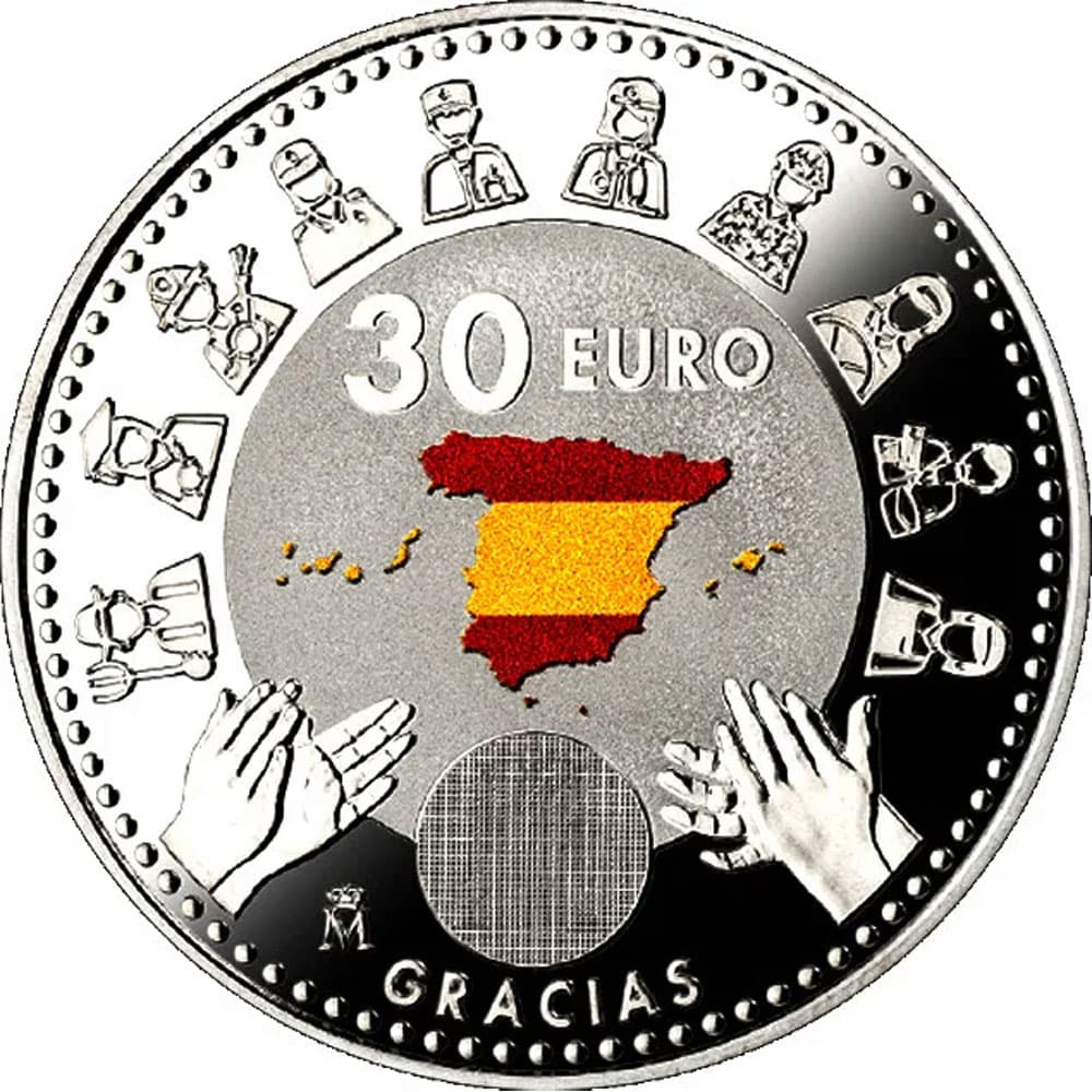 Moneda conmemorativa 30 euros 2020 Covid 19. Color