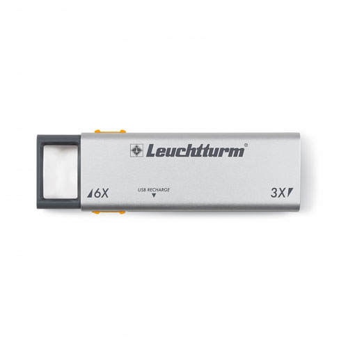 LEUCHTTURM Lupa desplegable-LED DUPLEX. USB.
