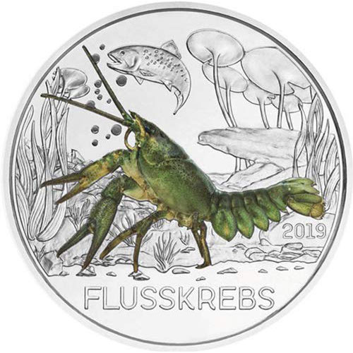 moneda Austria 3 Euros 2019 Cangrejo de Río color Tier-Taler.