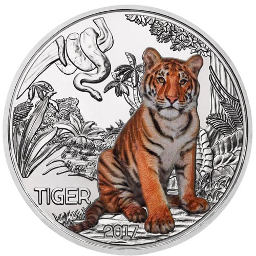 moneda Austria 3 Euros 2017 Tigre color Tiger Tier-Taler.