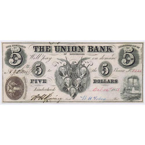 Kinderhook 5$ 1858. The Union Bank of Kinderhook. SC.