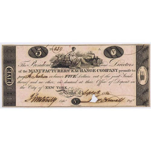 New York 5$ 1814. Manufacturer's Exchange Company. SC.