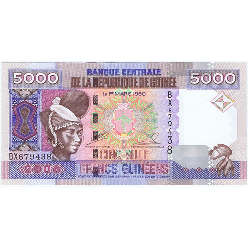 Guinea 5000 Cinq Mille Francs Guineens 2006. Sin Circular.