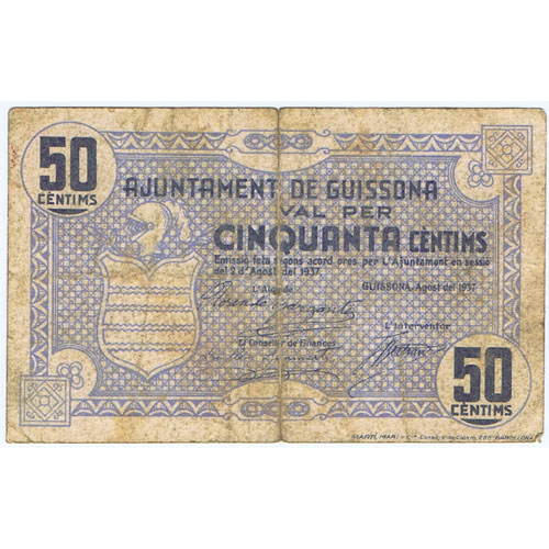 (1937/08/02) 50 Centims Ajuntament de Guissona.