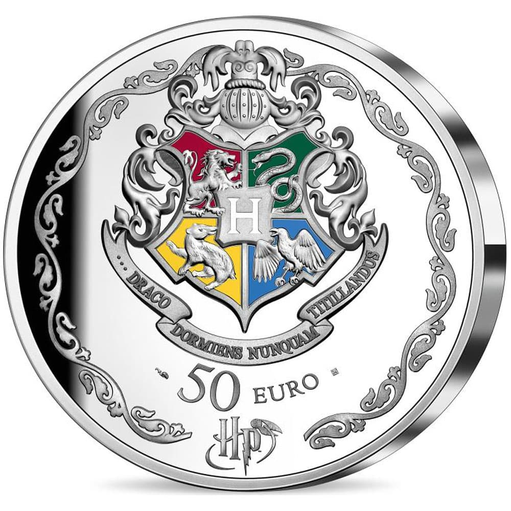 Francia 50€ 2021 Harry Potter. Escudo Hogwarts. Plata color.