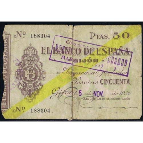 (1936/11/05) Spain Bank. Gijon. 50 Pesetas. MBC