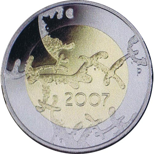 moneda Finlandia 5 Euros 2007 90º Independencia (proof)