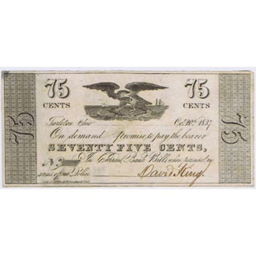Ohio. Tarleton 75cents. 1837. Bank Bills. SC.