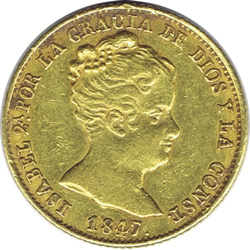 Moneda de oro 80 Reales Isabel II 1847 PS Barcelona.