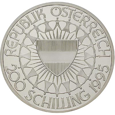 Moneda de plata 200 schillings Austria 1995 Ski Slalom. Proof.