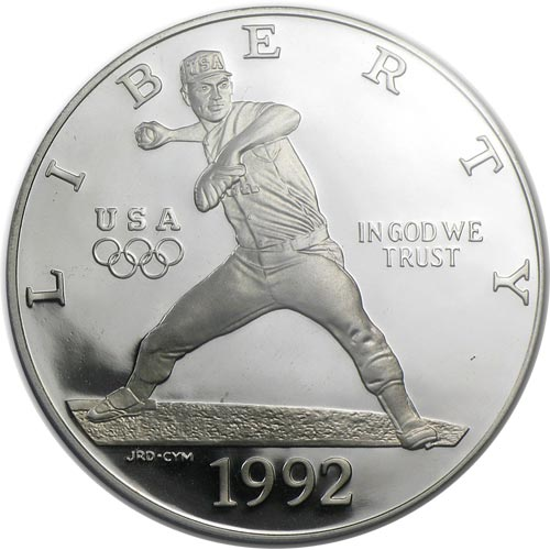 Moneda de plata 1$ Estados Unidos Atlanta Baseball 1992.