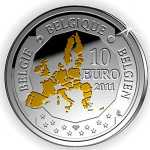 moneda Belgica 10 Euros 2011 Deep Sea Exploration. Proof.