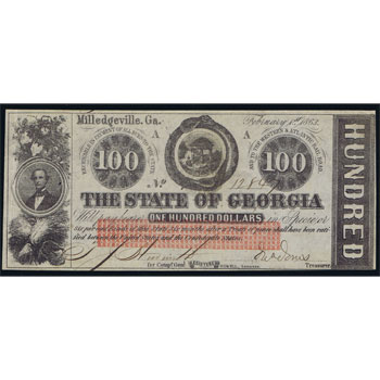 Georgia. Milledgeville 100$ 1863. The State of Georgia Bank. SC.