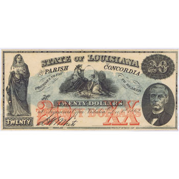 Louisiana. Vidalia, 20$ 1862. Parish of Concordia Bank. SC.
