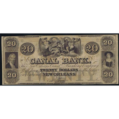 Louisiana. New Orleans 20$ 18xx. Canal Bank. SC.