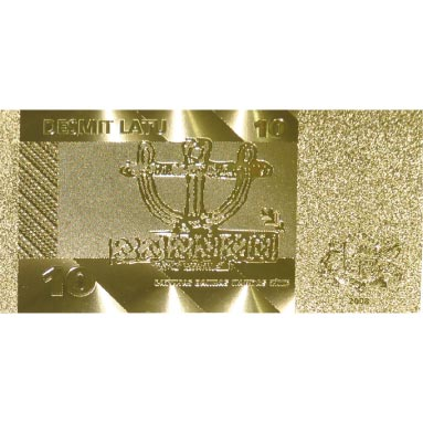 Billete de Letonia 10 Lats en oro de 24 kilates