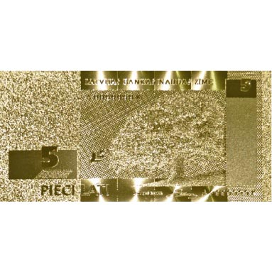 Billete de Letonia 5 Lats en oro de 24 kilates