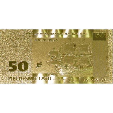Billete de Letonia 50 Lats en oro de 24 kilates