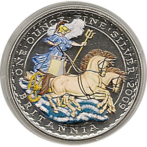 Moneda de plata color Britannia 2 Pounds Inglaterra 2009.
