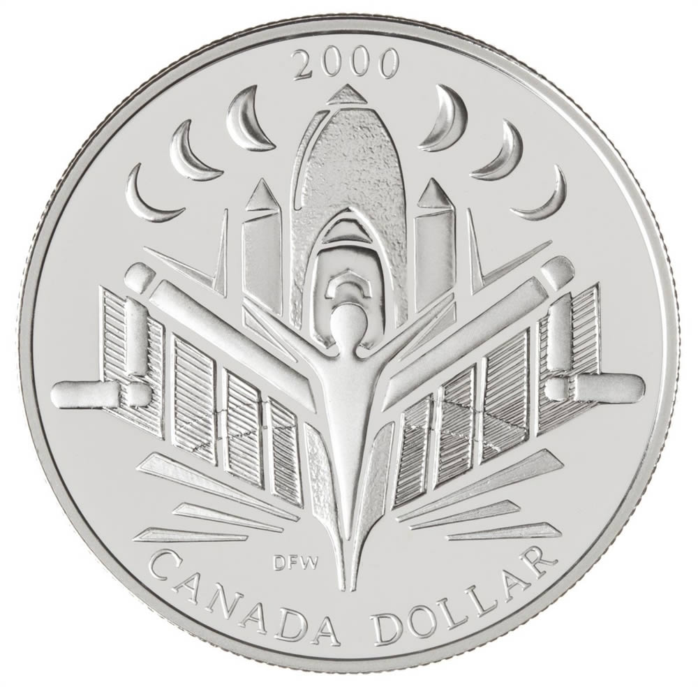 Moneda de plata 1 Dollar Canada 2000 Discovery. Proof.